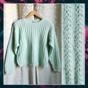 {Vintage}80s Mint Acrylic Knit Idioms Sweater Md